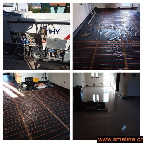 Anhydritové a cementové podlahy , topení , izolac
